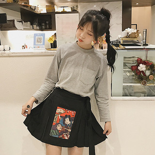 人気和柄の袴風スカート、可愛く着こなせる!黒 赤 和風