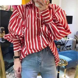 バルーンスリーブのオーバーシャツ 赤x白 青x白