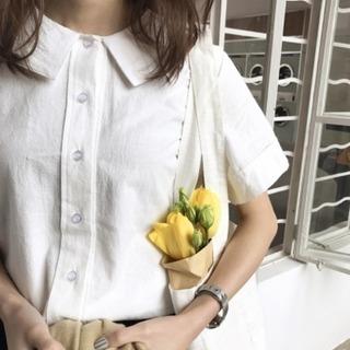 無地レトロスタイルシンプル折り襟シングルブレスト半袖