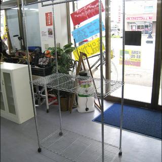 手稲リサイクル メタルラック  スチールラック ポール2本 キャス...
