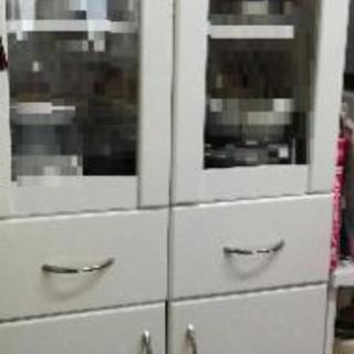 【耐震器具付き】食器棚 ホワイト