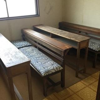 ★おまけ付き【アンティーク】木製の長机と長椅子