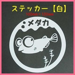 めだか【カッティングステッカー】メダカ(白)1枚セット