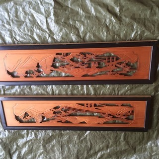 彫刻 欄間 一対 山松橋楼閣図 建具 木製 和室 彫刻 細密木彫刻...