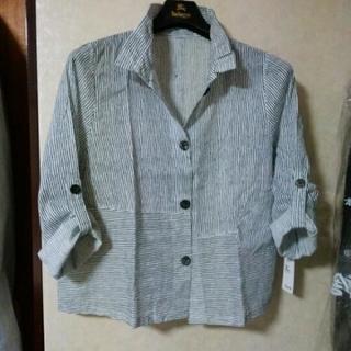 ★新品★【Key Luck】白×紺ストライプシャツ