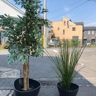 IKEA 観葉植物 造花×2 ベース×2。  豪華4点セット