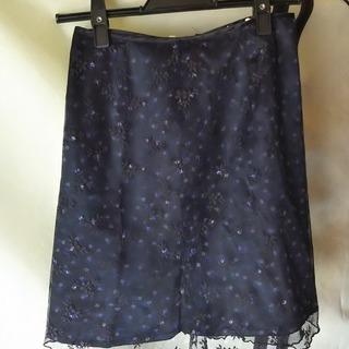 レーススカート花柄黒