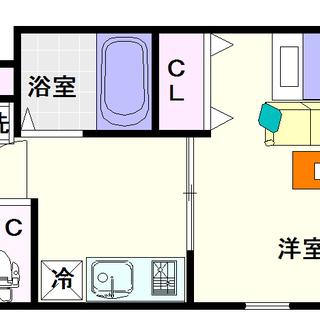 【ヘリテージ夕陽丘】1号タイプ!1Kタイプ!全戸角部屋タイプのお部...