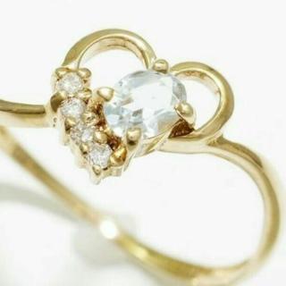 値下げしました、刻印有、ダイヤ&アクアマリン、指輪
