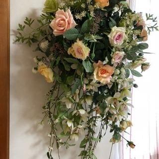 美品  大型アートフラワー  豪華なバラ、ラン等のブーケ