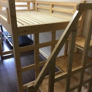 階段付き天然木の木製ロフトベッド 階段左右対応 セミダブルサイズ