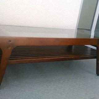 お洒落なガラストップ センターテーブル ロ-テーブル 1200x500