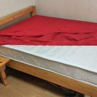 (交渉中)シングルすのこベッド(スプリングマット・サイドテーブル付き)