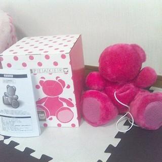 ピンクの熊のかわいいスピーカー 未使用、自宅保管品 箱、取5説付...