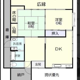 松江市東忌部町2SLDK広い庭と広い物置と納戸付きの一戸建て借家