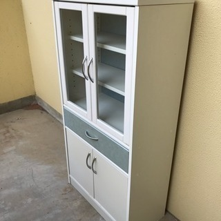 【リサイクルサービス八光 配達・設置OK】食器棚 ホワイト&グレー