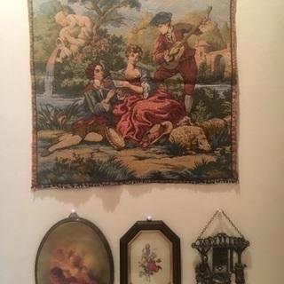 インテリア雑貨 イタリア製ゴブラン織り 天使の壁掛け イタリア製額...