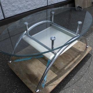 オシャレな楕円形ガラステーブル センターテーブル ローテーブル T...