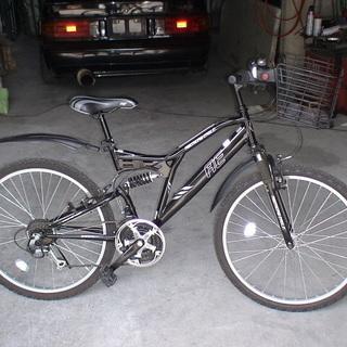 美品 使用少マウンテンバイク 自転車 26インチ 前かご前後サス...