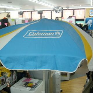 コールマン coleman ビーチパラソル 現状品 白×青 札幌 西岡店