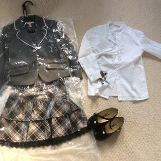 120センチ 女児 フォーマルジャケット、スカート、ブラウス、靴...