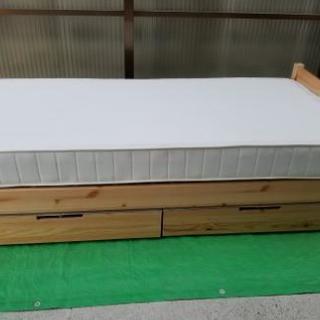 無印 MUJI パイン材 シングルベッド マットレス ベッド下収納...