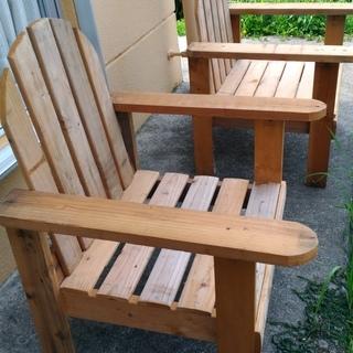 アウトドア 木製ガーデンチェア 2脚セット 外用