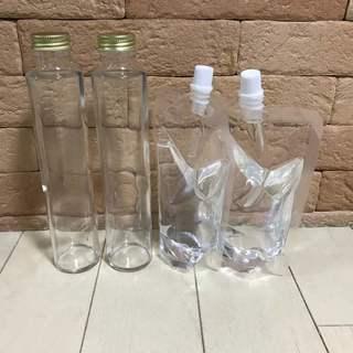 ハーバリウム ガラス瓶2本(200cc)とシリコンオイル400c...
