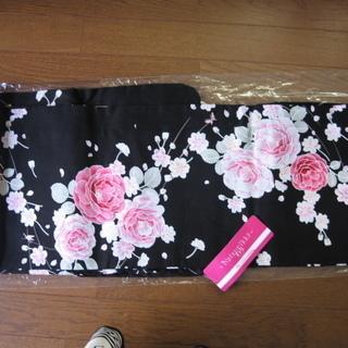 新品 洗える浴衣 ゆかた 女性用 黒にお花柄 ブラック