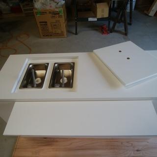 移動販売車・キッチンカー用2層シンク付きテーブル(蓋付き)(送料無料)
