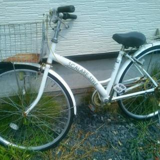 白の自転車前後パンクしていても良い方は差し上げます!