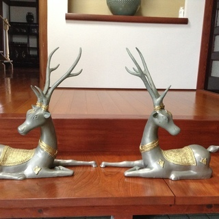 金属工芸 置物 幸運の鹿 神の使い 縁起物 シカ 60cm 特大...