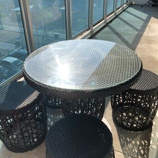 特別価格!82%OFF!テーブル 椅子4脚 5点セット 防水使用...