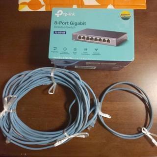 TP-Link 8ポート スイッチングハブ +LANケーブル