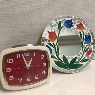 東急ハンズで買った置き時計&ステンドグラスの鏡
