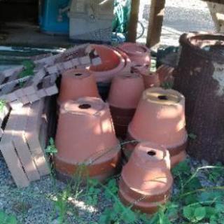 中古 植木鉢 レンガ色