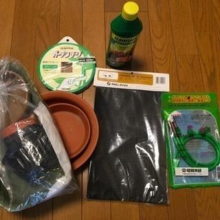 汎用液肥、ガーデンテープ、自動灌水管、鉢底ネット、受け皿少々
