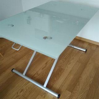 昇降機能あり。ガラステーブル 美品 中古