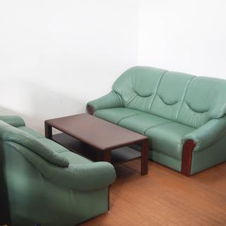 3Pソファ 2脚セット 応接用や休憩室用にも最適 合皮 幅180c...