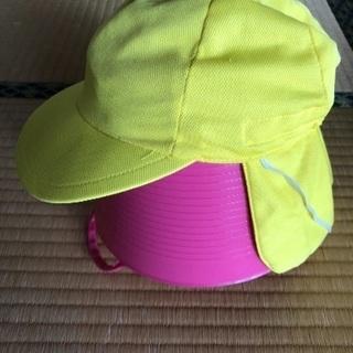 ☆美品☆園児用 タレ付きカラー帽子【黄色】