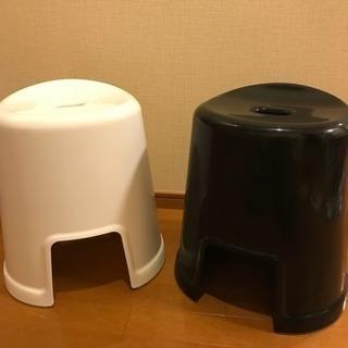 高さ40センチ 風呂の椅子 バスチェア 白 黒 2個セット