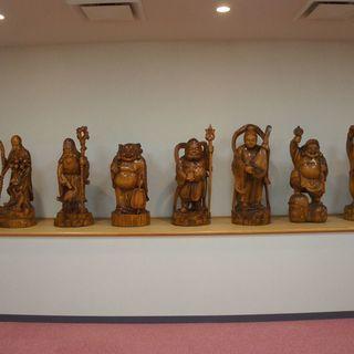 七福神、一点もの、、今では入手が難しい無垢材の木彫り