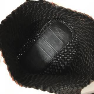 ☆美品 ハナエ モリ スポーツHANAE MORI SPORTS編み込みレザー ハンドバッグ/トートバッグ(24×40㎝)茶*294-3 - 売ります・あげます