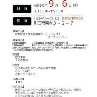 9/6(木)【障害者ミニ面接会】就労継続支援A型 ハローワーク川口...