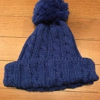 *美品blueポンポンニット帽青*