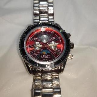 J-Star ムーンフェイス メンズメタル腕時計 J-1033レッ...