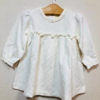 【ユミジェンヌ】桂由美白色の長袖ワンピース(90)ショートパンツ付き