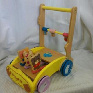 ミテミテ  木製 カタカタ手押し車