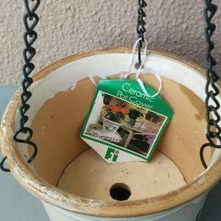 新品✨セラミック陶器ポットカバー 5号鉢用 (吊り下げ兼用)値下げ💴⤵