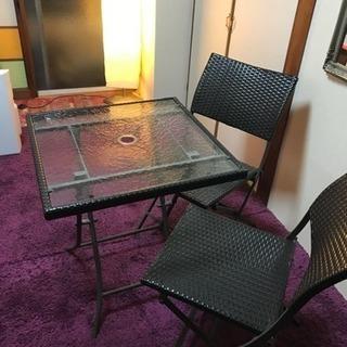 ガーデン テーブル椅子3点 アジアン